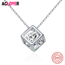 925 Sterling Silver Square Cube Rhinestones Choker Statement Necklace Women Lady Pendants Necklaces Jewelry