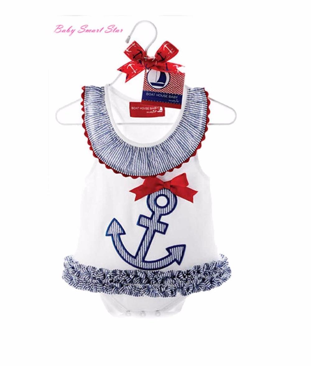 2015 Boat Anchor Sailor Lace Dress  Jumpsuit Infant Baby Rompers Summer Newborn Baby Girl Dress Romper Kids Clothes 2 Colors newborn baby rompers baby clothing 100% cotton infant jumpsuit ropa bebe long sleeve girl boys rompers costumes baby romper
