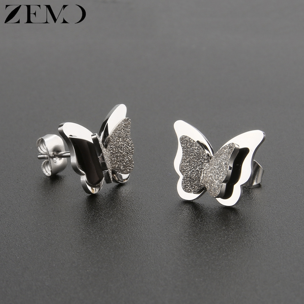 ZEMO Rose Gold Butterfly Stud Earring Female 316L Stainless Steel Black Earrings Ear Piercing Studs for Women Children`s Earring (12)