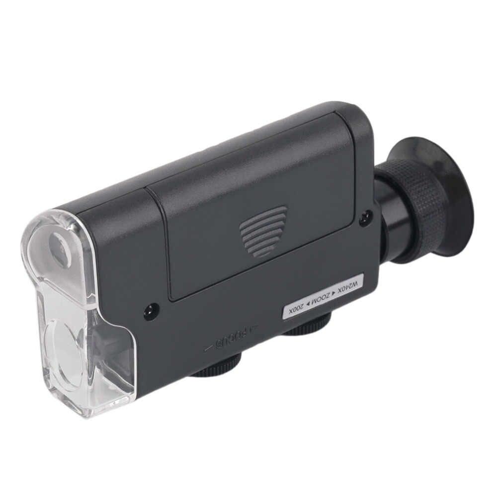 Nowy Mini przenośny mikroskop kieszonkowy 200X ~ 240X Handheld lampa LED światła lupa Zoom lupa szkło powiększające kieszeń obiektyw gorąca sprzedaż