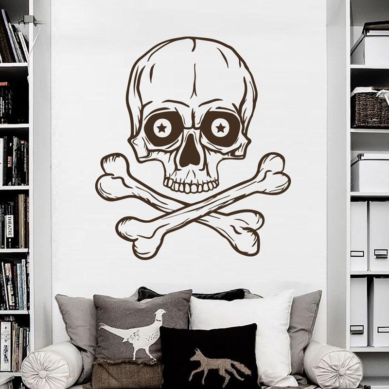 <font><b>Skeleton</b></font> <font><b>Wall</b></font> <font><b>Sticker</b></font> Removable Skull <font><b>Horror</b></font> Pirate Bones Vinyl <font><b>Wall</b></font> <font><b>Decals</b></font> Home Decor Vintage <font><b>Style</b></font>