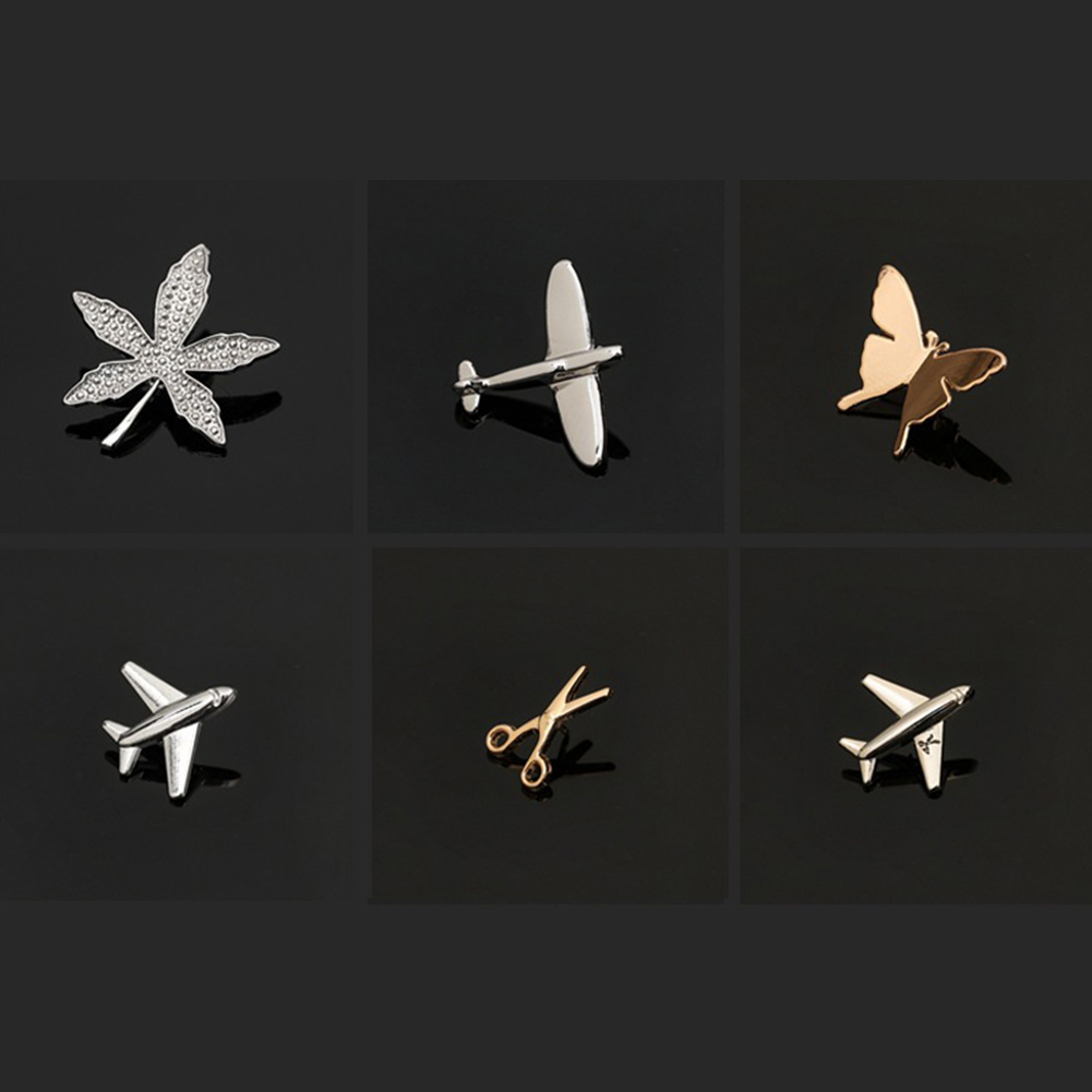 Vintage Simple Alloy DIY Leaf Plane Brooch Breastpin Gold Silver Men's Collar Lapel Pins Suit Accessories Jewelry For Women Gift 5