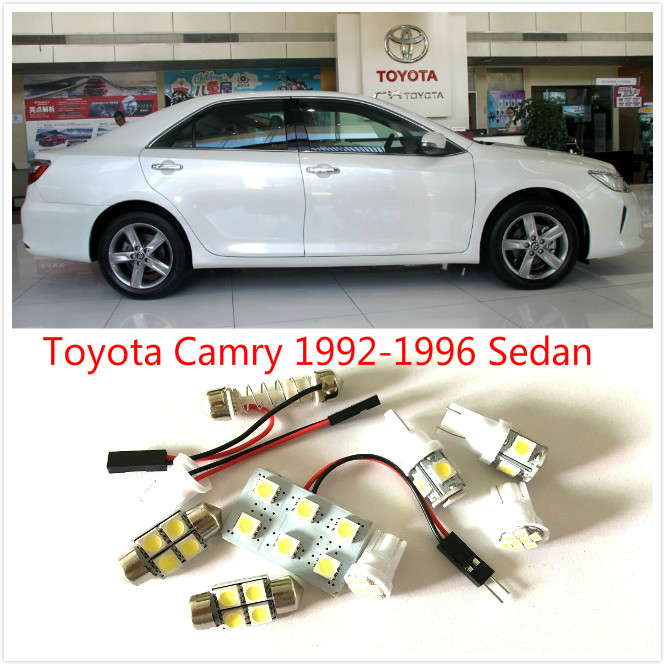 7PCS White LED interior package kit For Camry 1992-1996 Sedan Map Dome Trunk Courtesy License Plate Tag Lights high quality