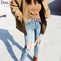Women Ripped Jeans femme Plus Size Vintage Female spring 2017 women Blue Denim Pants Pencil Casual Brand Fashion