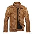Кожаная куртка мужчины осень и зима мужской стоять воротник тонкий PU мотоциклетная куртка плюс бархат теплый кожаное пальто m-3XL 8822