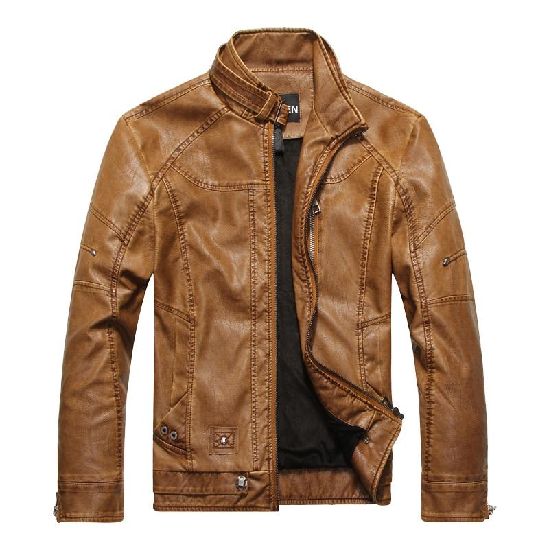 DHfinery bőr kabát férfi őszi téli állvány gallér karcsú PU - Férfi ruházat