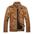Homens outono e inverno masculino gola jaqueta de couro fino PU motocicleta jaqueta além de veludo casaco de couro quente m-3XL 8822