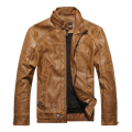 leather jacket men autumn and winter male stand collar slim PU motorcycle jacket plus velvet warm leather coat m-3XL 8822