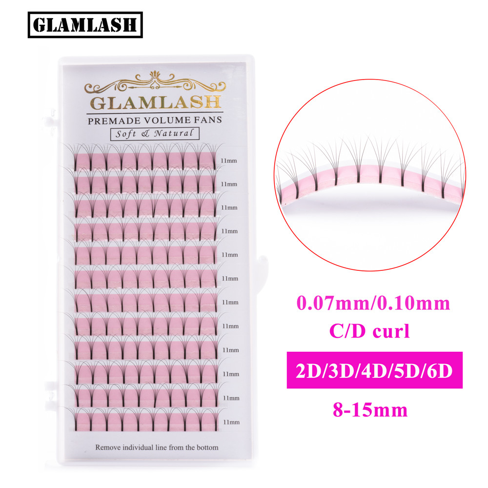 GLAMLASH 2D 3D 4D 5D 6D Long Stem False Lashes Premade Russian Volume Fans Faux Mink Premade Eyelash Extensions Makeup Cilios