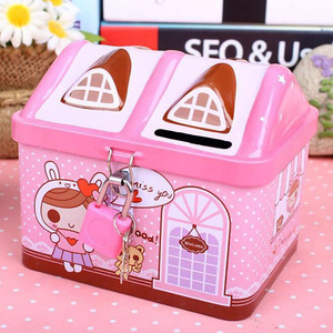 New metal house shape piggy bank coin safe storage box child piggy banks key lock money box creative children Christmas gift(China)