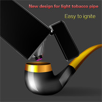 Latest Usb Charge Arc Lighter USB Windproof Electronic Cigarette Lighters Novelty Electric Smoke Cigarette Lighter Pipe