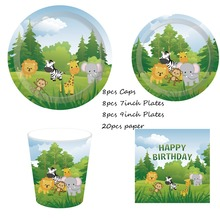Omilut Safari Jungle Birthday Disposable Plates/Cups/Napkins Animal Set Summer Party 1th Decor
