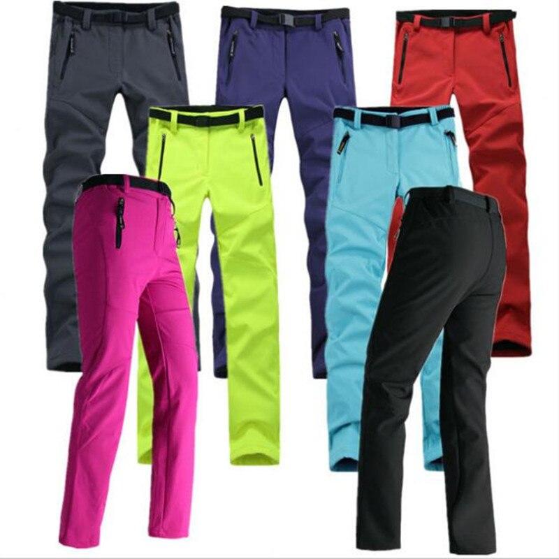 Women Thick Warm Fleece Softshell Pants Fishing Camping Tactical Trousers Waterproof Windproof 2017 New Pantolon