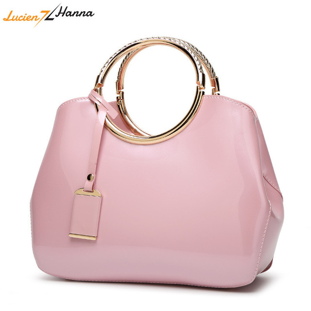 Round Handle Women Handbags Solid Color PU Leather Female Shoulder Bag  Zipper Crossbody Party Bags Ladies a3e5de1b311a