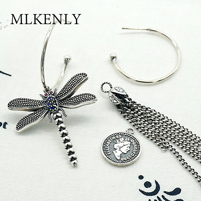 MLKENLY Vintage 925 Sterling Silver Dragonfly Coin Drop Earrings for Women Girl's Gift Retro Elegant Earrings Fashion Jewelry