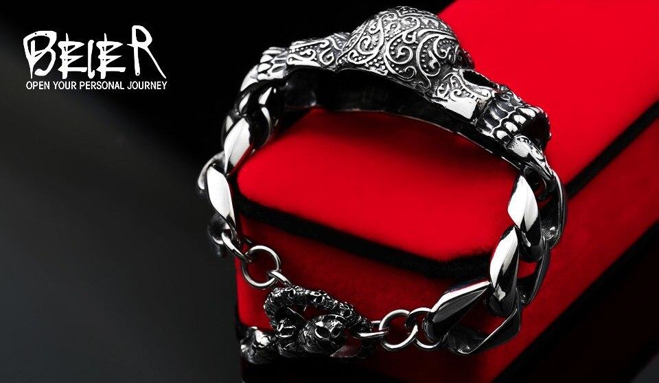 BEIER 316lStainless steelCool Men's Steel High Quality Red Eye Stone Biker Man Skull charms Bracelet Chain Factory Price BC8-021 6
