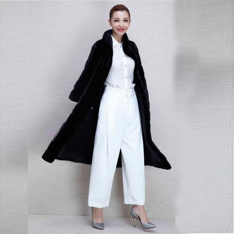 La S Veste Taille Mince Fourrure Fashion Feminino Vison De Femmes Noir D'hiver Plus Longues Chaud 2018 Casual Faux Manches 4xl Casaco À Manteau aqxfp