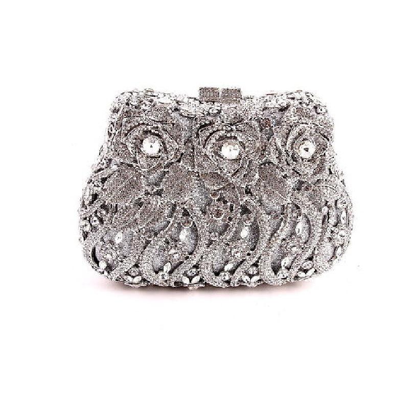 ФОТО #8268 Silver Crystal ROSE Flower Floral Wedding Bridal Party Night hollow Metal Evening purse clutch bag box case handbag