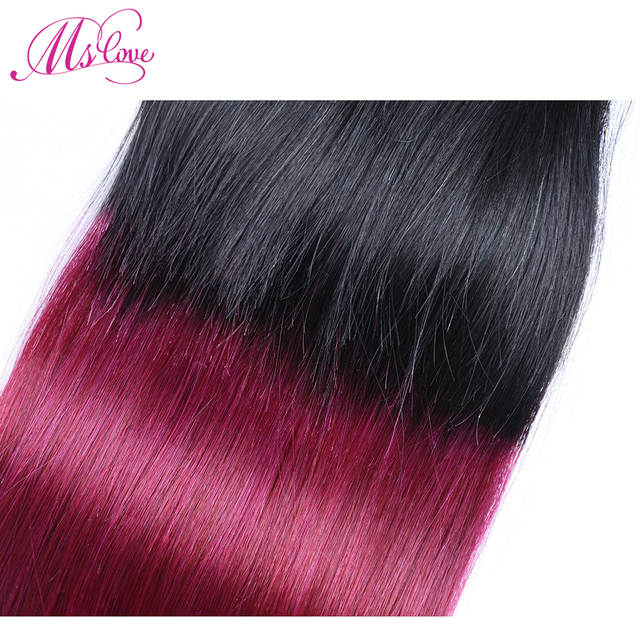US $18 23 49% OFF|Ms Love Ombre Closure Straight Human Hair 4x4 Lace  Closure Blonde T1B 30# 33# 350# 118# Burgundy 99J Brazilian Hair Non  Remy-in