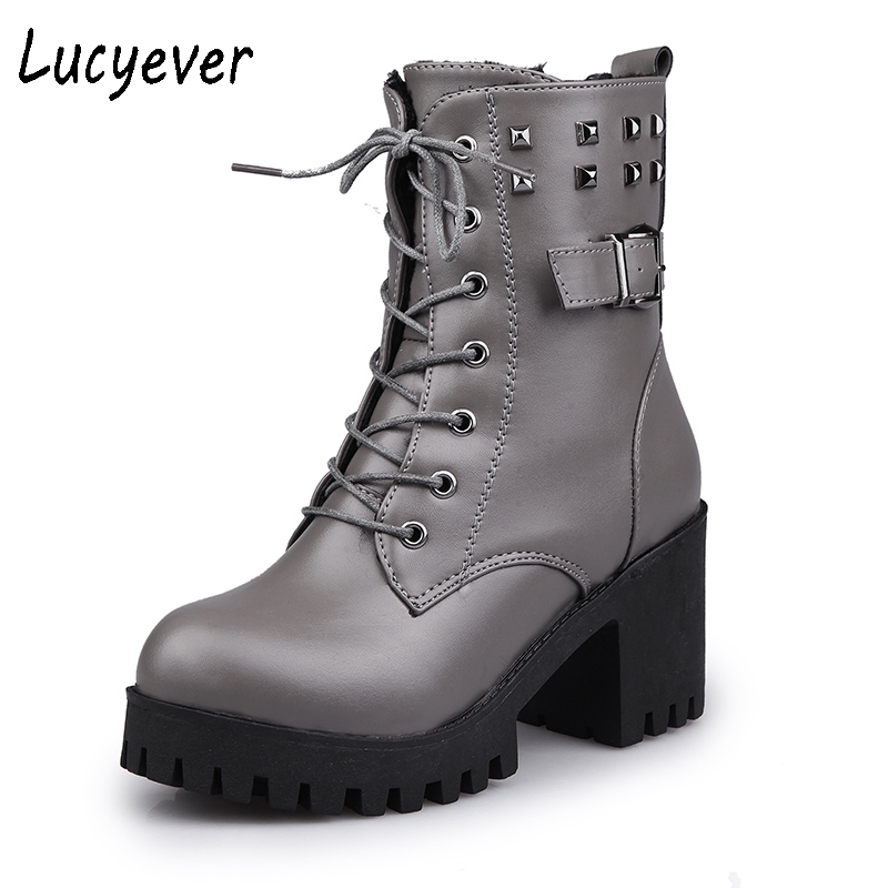 Lucyever Fashion Women Motorcycle Boots Thick High Heels Platform PU Leather Mid calf Boots Rivet Punk Autumn Winter Shoes Woman kibbu lace up high heels women punk style ankle boots thick bottom platform shoes european motorcycle leather boots 6 colors