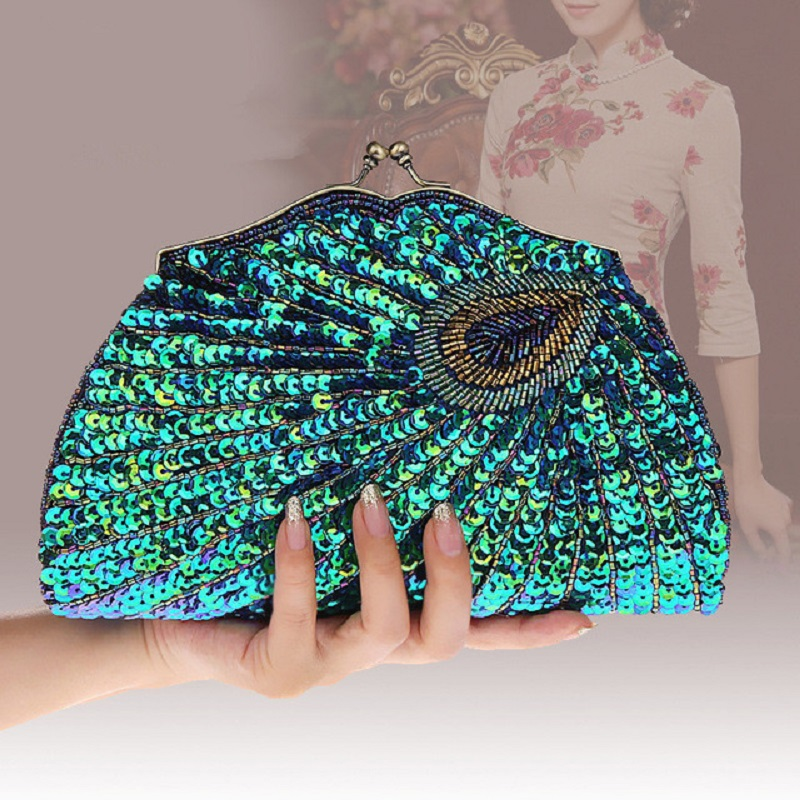 Peacock Clutch Purse Embroidery Evening-Bag Handbag Blue Gold Green Ladies Makeup Paillette