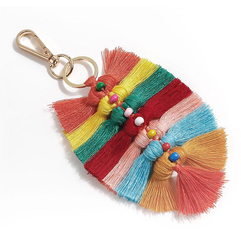 Bag Accessories National Style Keychain Innovative Handmade Cotton Woven Tassel Pendant Leaves Wooden Bag Ornaments