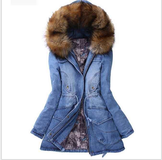 Mùa đông Dày Cơ Bản jeans Coat Phụ Nữ 2017 Mới Parka Fleece Coat Faux Fur Collar Đội Mũ Trùm Đầu Dài Denim Quần Áo Thể Thao jaqueta G080101