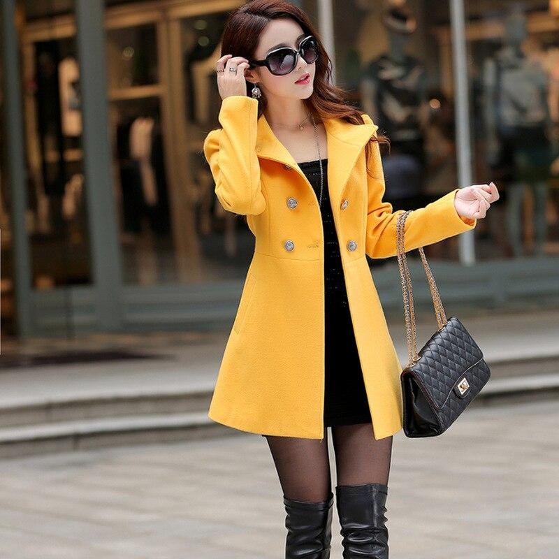 rosso Sottile Giallo Di Monopetto Grigio Giacca Casual Solido Lana Delle Cashmere E Cappotto Modo Donne colore Lungo 6SgSaq0w