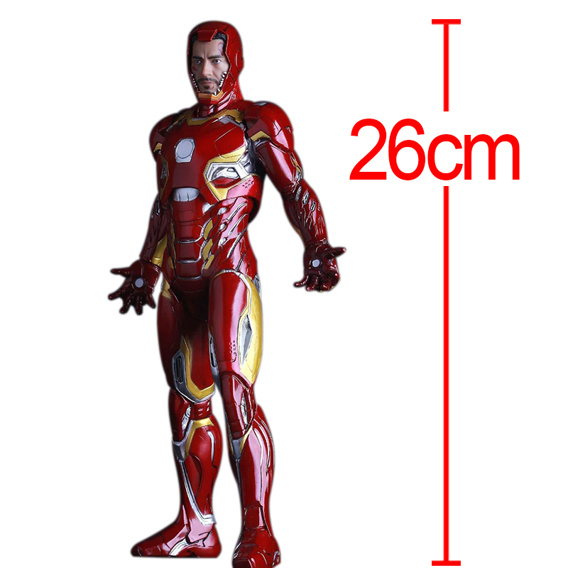 C&F Iron Man Anime Action Figure Toys Superhero Anthony Edward Stark Red 26 CM PVC Model Collectible Figures Toys For Gifts 30cm anime figure the avenger iron man red action figure collectible model toys for boys