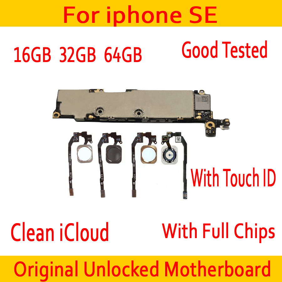 Factory Unlocked For Iphone SE Motherboard With Touch ID/Without Touch ID 100% Original For Iphone 5SE Mainboard With Full Chips