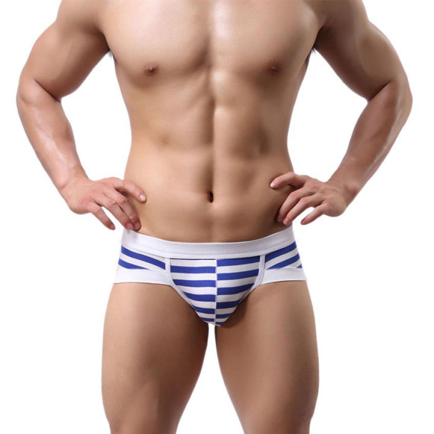 Men Sexy Stripe Cotton Underwear shorts men boxers underpants Soft Briefs Men Underwear AU.7