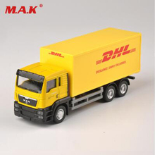 1/64 scale express DHL cargo truck models yellow pull back alloy plastic with box toys collections displays for children gifts