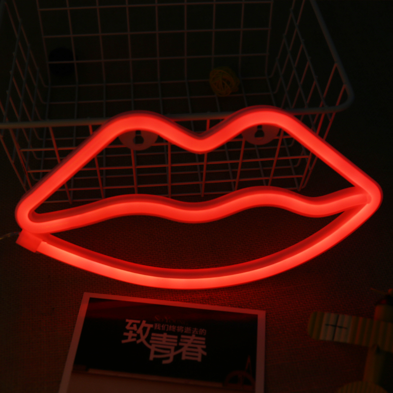 Red Lips Neon Night Light Lamp Strip Battery USB Operated Wall Hanging Light Home Bedroom Decor Flexible Led Neon Sign Tube шлифмашина угловая metabo w 850125 125мм 850вт 601233010