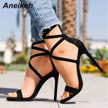 Aneikeh, sandalias sexis de tacón alto para mujer, zapatos de correa en el tobillo, sandalias de verano para mujer, sandalias de gladiador con punta abierta, Sandalias de tacón, fetiche nuevo