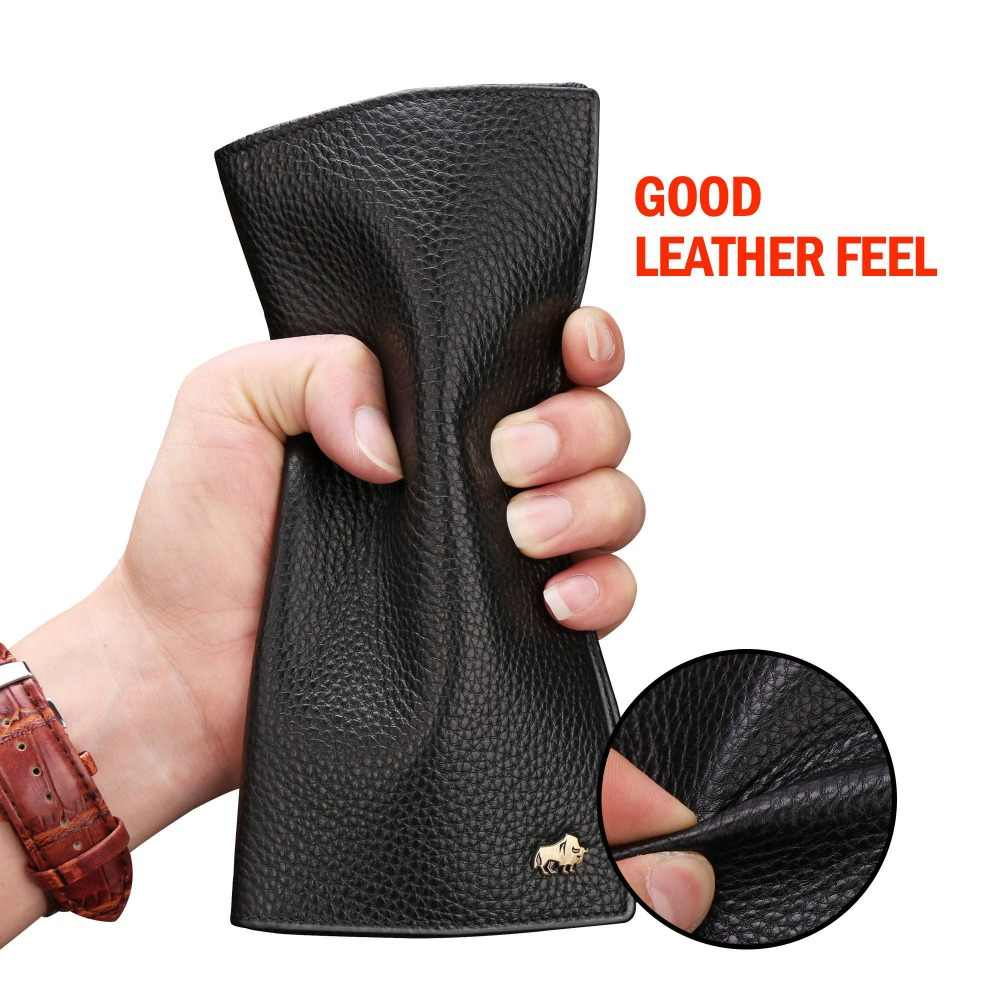 Мужское длинное деловое портмоне BISON DENIM, черный тонкий бумажник из натуральной кожи, роскошный брендовый тонкий кошелек для мужчин, 2019