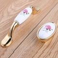 96mm modern fashion rural pink rose ceramic wine cabinet dresser door handles 16mm silver gold drawer shoe cabinet knobs pulls