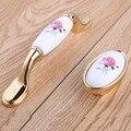 96mm rosa de cerâmica de moda moderna rural vinho gabinete dresser maçanetas 16mm prata ouro gaveta do armário da sapata puxadores puxa