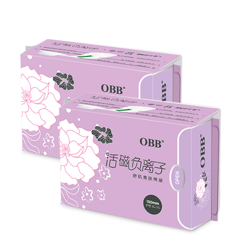2 Pack OBB Anion Sanitary Napkins Paper Pads Pantyliner Sanitary Towels 60pcs Cotton Disposable Leakproof 150mm Length For Women