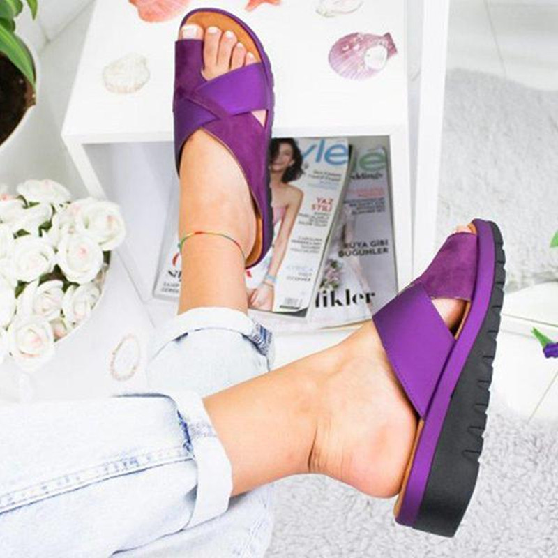 2019 Women Leather Shoes Comfy Platform Flat Sole Ladies Casual Soft Big Toe Foot Correction Sandal Orthopedic Bunion Corrector big toe sandal