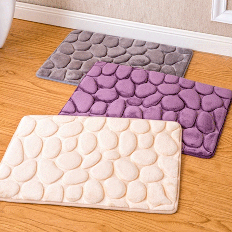 Simanfei 2019 New 3D Pebbles Flannel Super Soft Door Mat Living Room Doormats Anti Slip Kitchen Carpets Bathroom Rugs 40 60 cm in Carpet from Home Garden