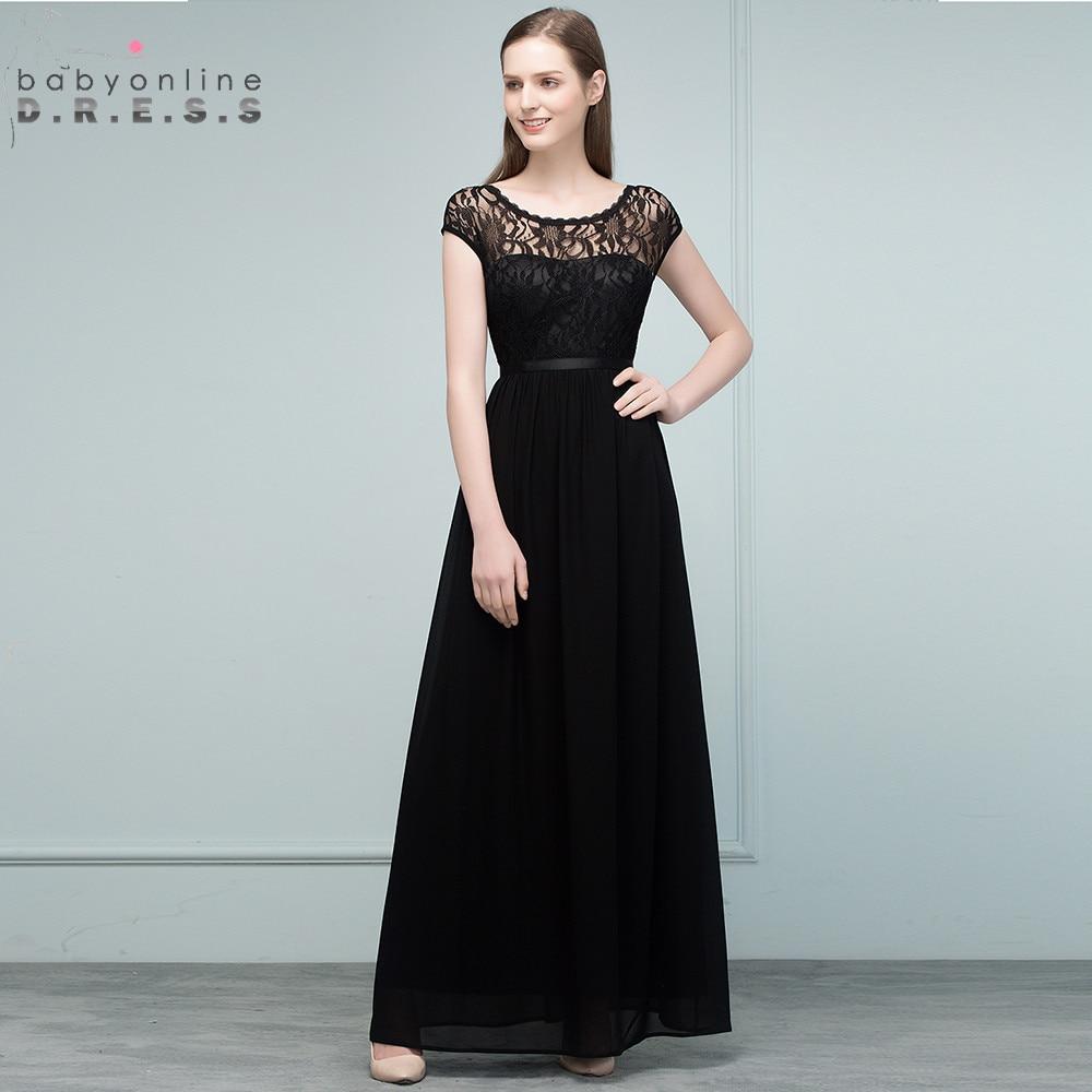 Babyonline Charming Transparent Lace Black Prom Dresses Long 2018 ...