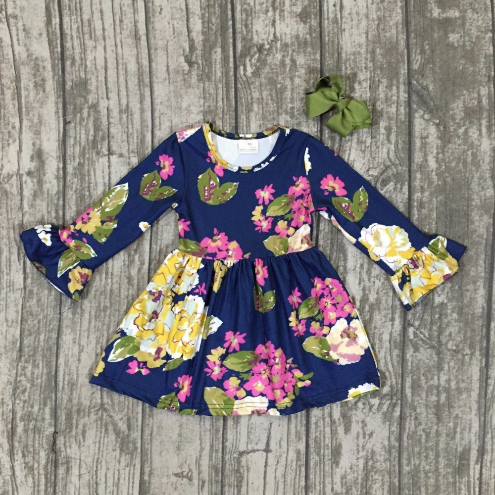 fall/winter baby girls 100% cotton dress navy floral flower ruffle long sleeve children clothes boutique match with clip bow football clothes tutus touch downs fall baby girls boutique skirt ruffle hot pink long sleeves bow heart with matching accessory