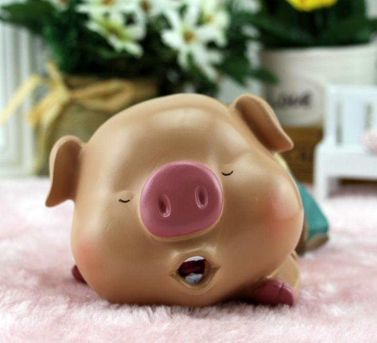 creative cartoon sleeping pig piggy bank resin tirelire alcancia in money boxes from home garden on aliexpress com alibaba group