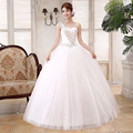LYGH47#wholesale and retail Custom new Korean wedding dress lace flower sweet shoulder Floor-Length wedding bride dresses white