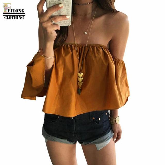 FEITONG נשים של חולצה קיץ מכתף סלאש צוואר קצר שרוול ראפלס נשים חולצות וחולצות blusas mujer דה moda 2019
