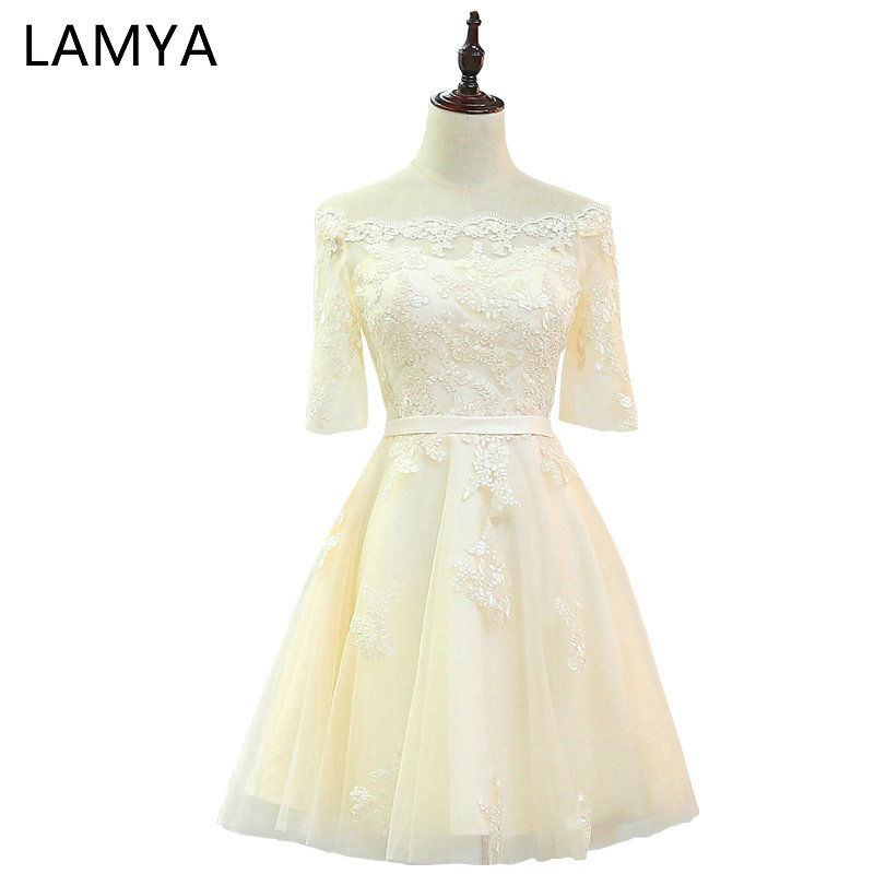 LAMYA Special Occasion   Dress   Cheap Elegant   Prom     Dresses   With Half Sleeve 2019 Princes Boat Neck Evening Party Gowns