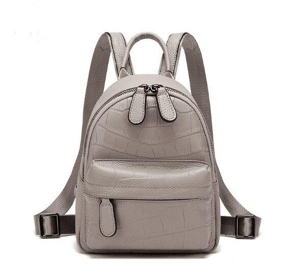 Femme S Taille Supérieure Dos Pour Sac Cuir Véritable Qualité Grey Cartable À O4pw04q