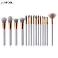 15PCS Cosmetic Fan Brush Makeup Lip Eyebrows Eyelashes Eyes Sets Kits Tools Concealer Professional White Gold