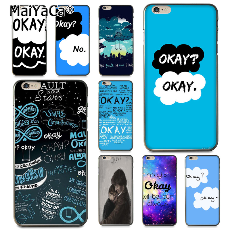 official photos f9068 ff9ce US $1.39 30% OFF|MaiYaCa Fault In Our Stars Okay Okay Coque Shell Phone  Case for Apple iPhone 8 7 6 6S Plus X XS XR XSMax 5 5S SE Cover-in ...