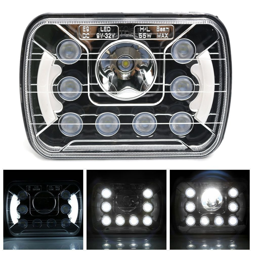 Rectangle 5x7 7x6 Dual Beam Crystal Clear chrome Sealed LED Headlights DRL 55w Sealed Beam For jeep wrangler Off-road